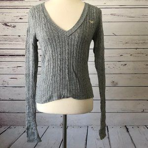 Hollister Large Cable Knit Vneck Sweater Rabbit